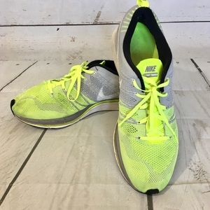 Nike Flyknit Trainers Yellow Gray Mens Size: 13